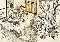 A man is watching a beautiful woman, hokusai