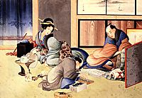 A merchant making up the account, hokusai