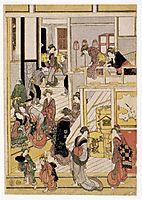 New Year-s Days of the Teahouse Ogi-ya, 1812, hokusai