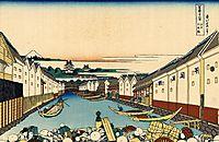 Nihonbashi bridge in Edo, hokusai