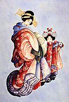 Oiran and Kamuro, hokusai