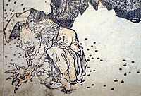 Oni pelted by beans, hokusai