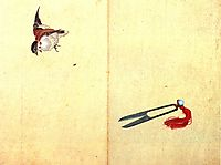 Pair of sissors and sparrow, hokusai