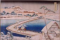Thepontoon bridgeatSanoin theprovince ofKozuka, 1834, hokusai