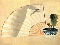 Porcelain pot with open fan, hokusai
