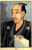 Portrait of a man of noble birth with a book, hokusai