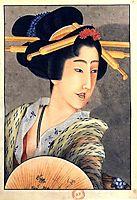 Portrait of a woman holding a fan, hokusai