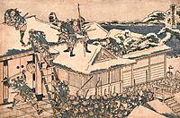The ronin attack the principal gate of Kira-s mansion, hokusai