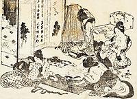 Scene of housekeeping. Four women are working, hokusai