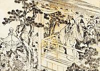 A scene of a shinto shrine dance, kagura, hokusai