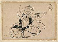 Seated Woman with Shamisen, hokusai