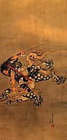 Shoki riding a shishi lion, hokusai