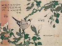 Sparrowandmagnolia, hokusai