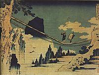 The Suspension Bridge Between Hida and Etchu, hokusai