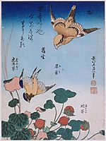 Swallow and begonia and strawberry pie , 1834, hokusai