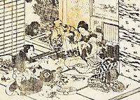 Three women and two children, hokusai