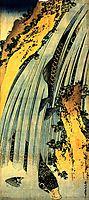 Two carp in a cascade, hokusai