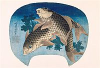 Two carps, hokusai