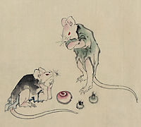 Two mice, one lying on the ground with head resting on forepaws, hokusai