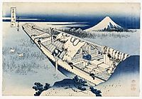 View of Fuji from a Boat at Ushibori, 1837, hokusai