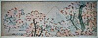 View on Mount Fuji between flowerin trees, hokusai