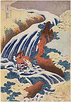 WaterfallYoshinoinYamatoprovincewhereYoshitnewashedhishorse, hokusai