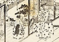 A well educated boy pays respect to an older man, hokusai