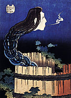 A woman ghost appeared from a well, hokusai