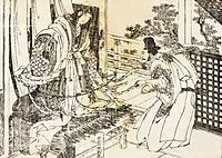 A woman in shinto shrine has a stick with a lot of paper leaves, hokusai