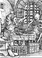 Death and the Miser, from The Dance of Death, 1523, holbein
