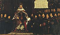 Henry VIII handing over a charter to Thomas Vicary, commemorating the joining of the Barbers and Surgeons Guilds, 1541, holbein