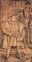 Henry VIII and Henry VII, cartoon for wall painting in Whitehall, 1537, holbein