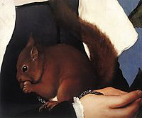 Portrait of a Lady with a Squirrel and a Starling, detail 1, 1527-1528, holbein