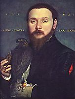 Portrait of Nobleman with a falcon, 1542, holbein