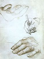 Studies of the Hands of Erasmus of Rotterdam, 1523, holbein