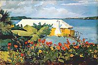 Flower garden and bungalow, Bermuda, 1889, homer