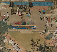 Lady Xuanwen Jun Giving Instructions on the Classics (detail), 1638, hongshou