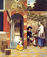 Figures Drinking in a Courtyard, 1658, hooch