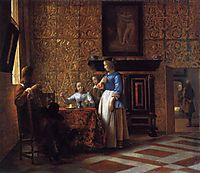 Interior with Figures, c.1664, hooch