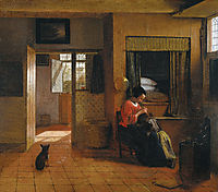 Interior with a Mother delousing her Child, c.1660, hooch