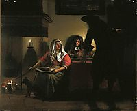 Interior with Two Gentleman and a Woman Beside a Fire, hooch