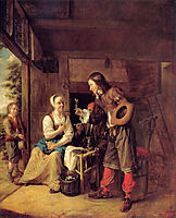 A Man Offering a Glass of Wine to a Woman, 1654-1655, hooch