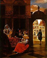 Musical Party in a Courtyard, 1677, hooch