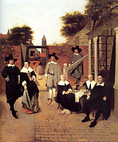 Portrait of a Family in a Courtyard in Delft, 1658-1660, hooch