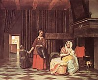 Suckling Mother and Maid, 1670-1675, hooch