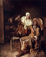 Tavern scene with maid trying to fill the glass of a cavalier (The Empty Glass), c.1652, hooch