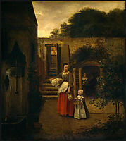 Woman and Child in a Courtyard, c.1660, hooch