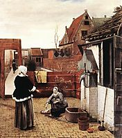 Woman and Maid in a Courtyard, 1660, hooch