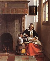 Woman Peeling Apples, 1663, hooch