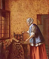 Woman weighing gold coins, c.1664, hooch